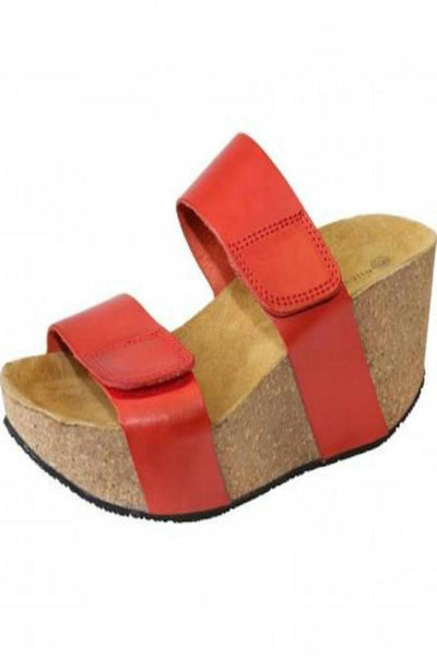 Eric Michael Women's Lily Leather Platform Sandal Red Multi Leather Wedge