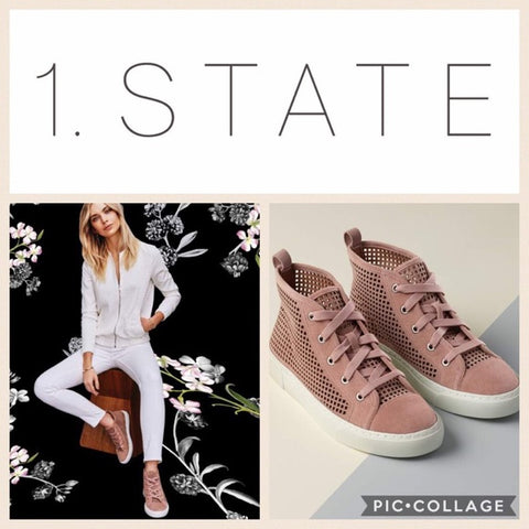 1.State Dulcia Blush Suede Perforated White Sole LaceUp High-Top Fashion Sneaker