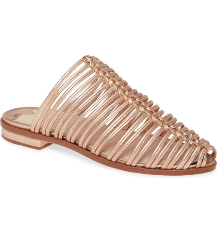 Cecelia New York Gloria Slide Sandal Golden Metallic Slip On Flats Caged Mule