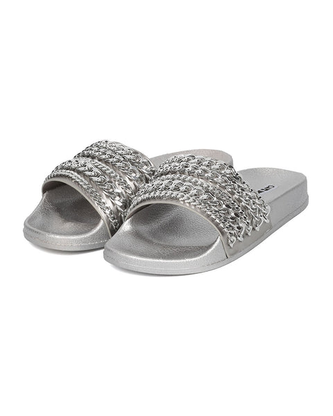 Cape Robbin Moira-18 Silver Chain Flat Footbed Fashion Pool Slide Sandals