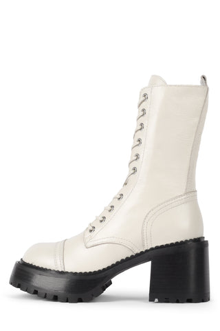 Jeffrey Campbell Locust Ivory Leather Lace Up Chunky Moto Combat Boots Boot