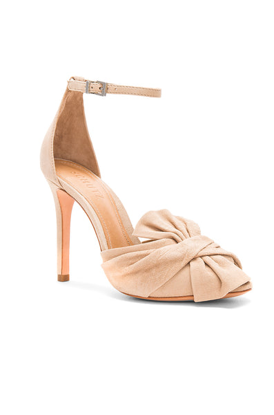 Schutz Natally Amber Light Pink Ankle Strap Single Sole Big Bow Pumps