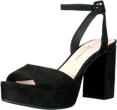 Chinese Laundry Women's Theresa Platform Dress Sandal Black Suede Peep Toe Pump