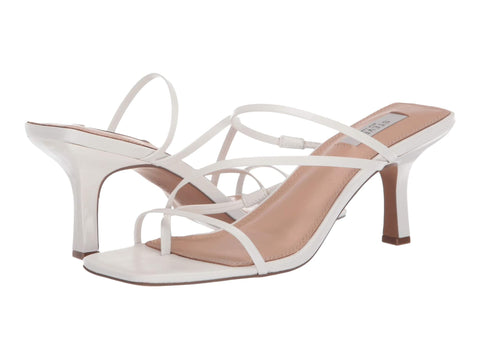Steve Madden Women's Talie Strappy Open toe Heeled Sandal WHITE LEATHER