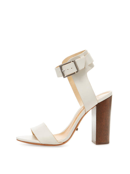 Schutz Charlise Pearl Off White Leather Ankle-Wrap High Block Heel Sandal
