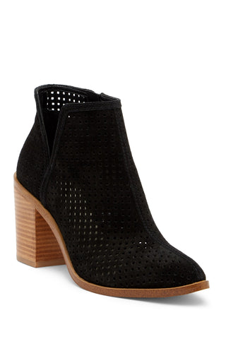 1. STATE Larocka Black Suede Stacked Heel Perforated Ankle Bootie