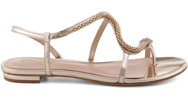 Schutz Damika Platina Gold Flat Strappy with Metal Snake Emebellished Sandals