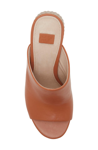 Louise et Cie Lillia2 Slip-on Block Heel Leather Mules WARM CARMEL