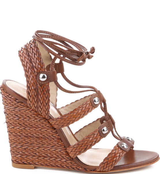 Schutz Jayne Saddle Brown High Wedge Tie Up Woven Wedge Sandal