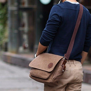 Mens Vintage Canvas Messenger Bag