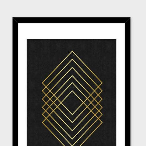 A framed poster with gold geometric square rings printed on black.