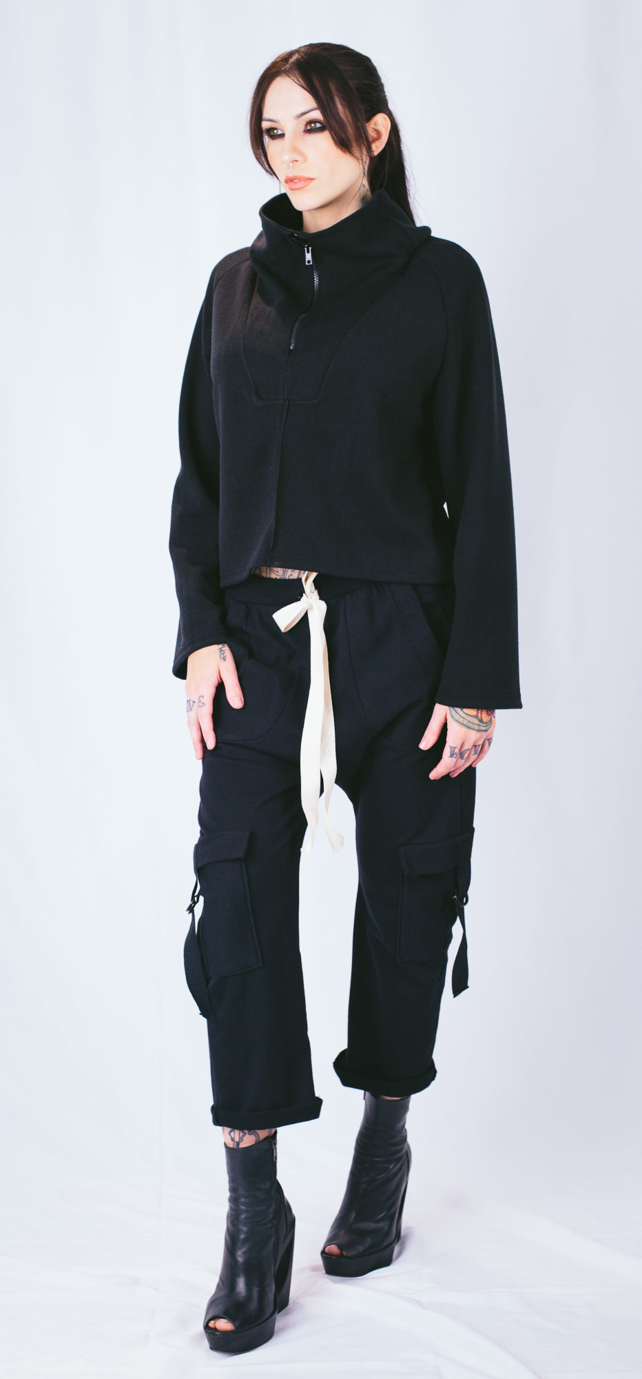 Zip Funnel Neck Shirt