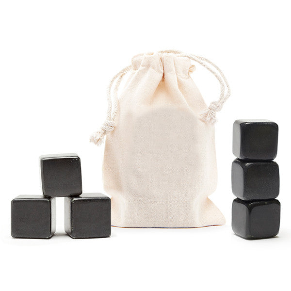 6 Blank Polished Whisky Stones® + Plain Bag