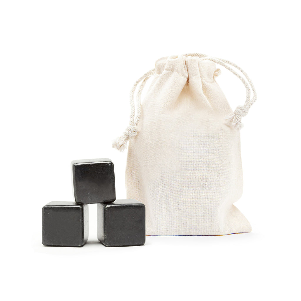 3 Blank Polished Whisky Stones® + Plain Bag