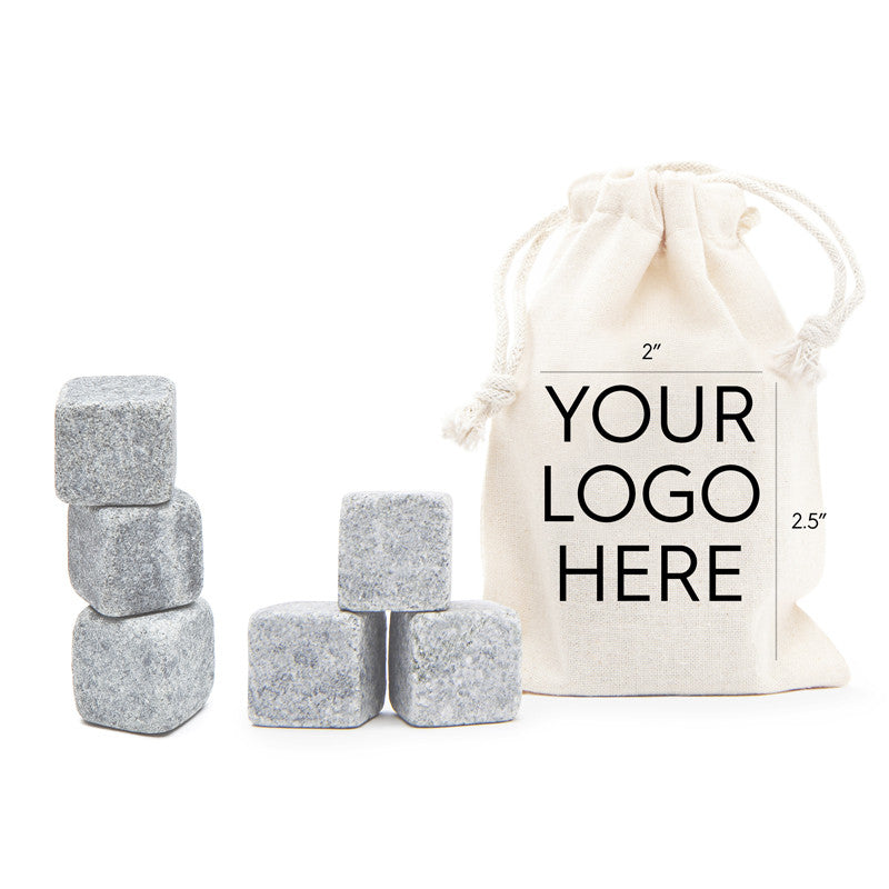 6 Tumbled Whisky Stones® + Custom Bag