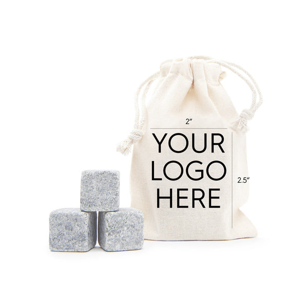 3 Tumbled Whisky Stones® + Custom Bag