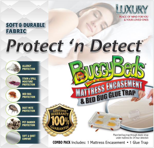 Protect 'n Detect® BuggyBeds® Luxury Mattress Encasement and Bed Bug Glue Trap