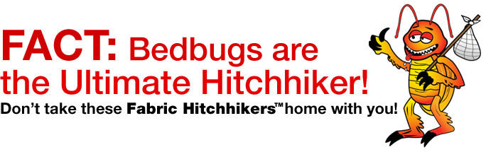 FACT: Bedbugs are the Ultimate Hitchhiker! Don't take these Fabric Hitchhikers home with you!