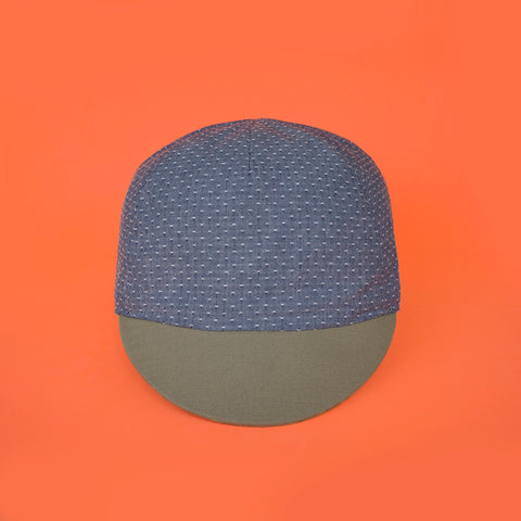 Mod.307 The Classic Reversible Cycling Cap in Navy/Denim Dobby