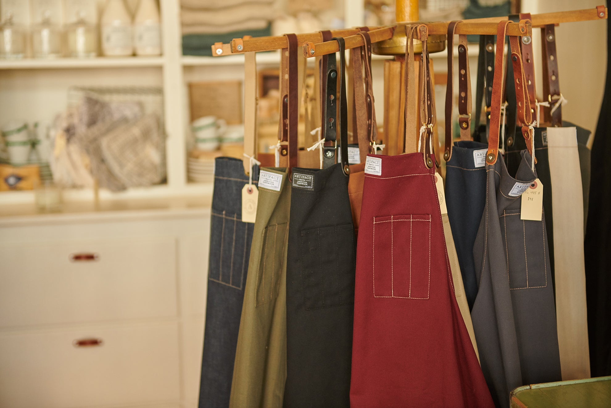 Handmade Aprons Displayed In Artifact's Omaha Retail Store