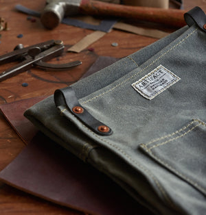 Waxed Canvas Apron with Leather Strap for Men and Women