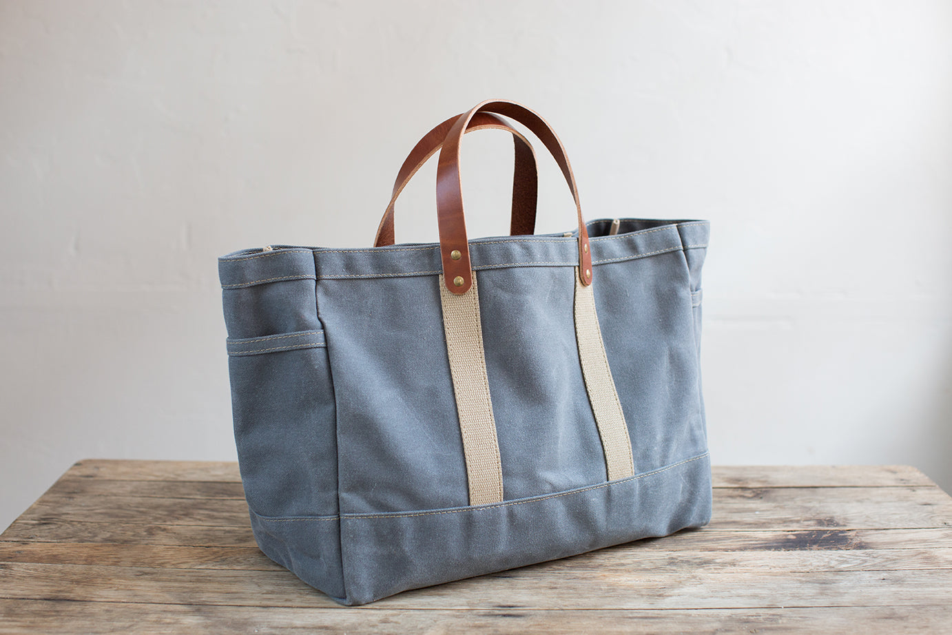 Wax Canvas Garden Tote w/ Leather Handles