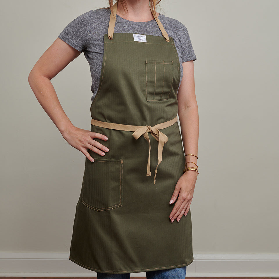 Artifact Khaki Herringbone Twill Apron w/ Cotton Neck Slider