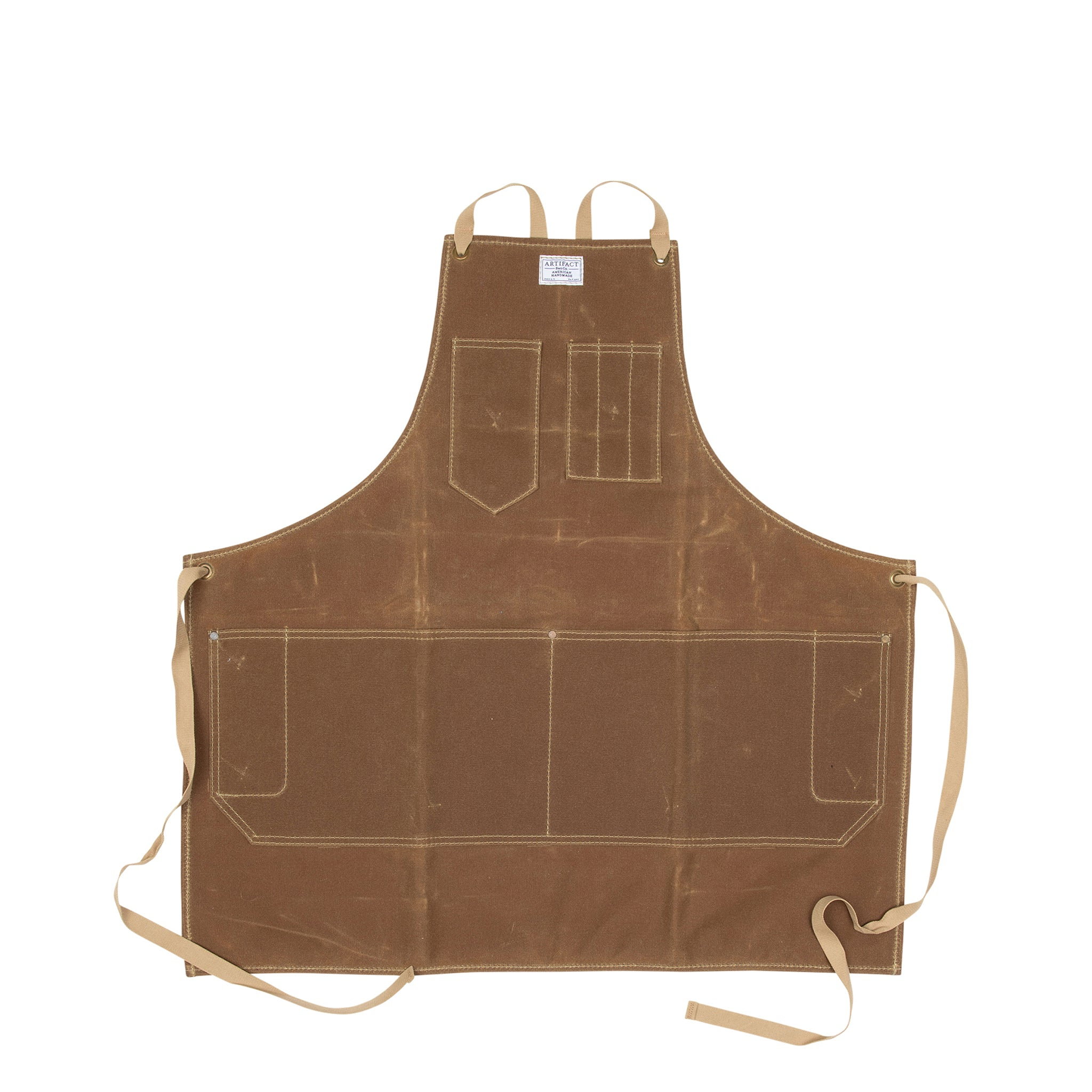 Artifact Olive Wax Canvas Apron w/ Cotton Cross-Back Ties
