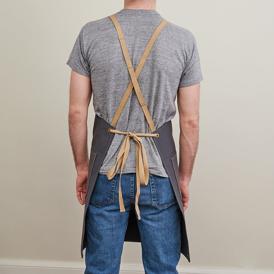 Artifact Slate Duck Canvas Apron w/ Cotton Cross-Back Ties