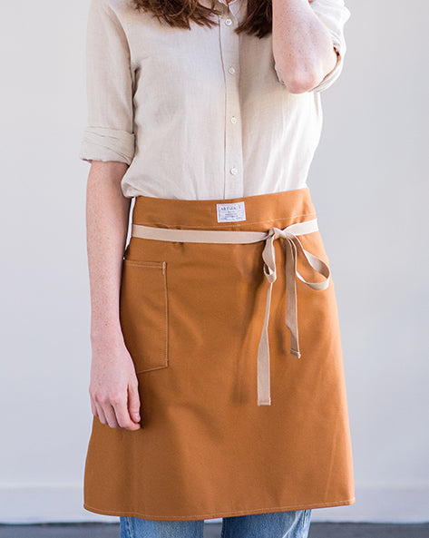 "ARTIFACT Toffee Twill Cafe Apron 20"" Long - SALE"