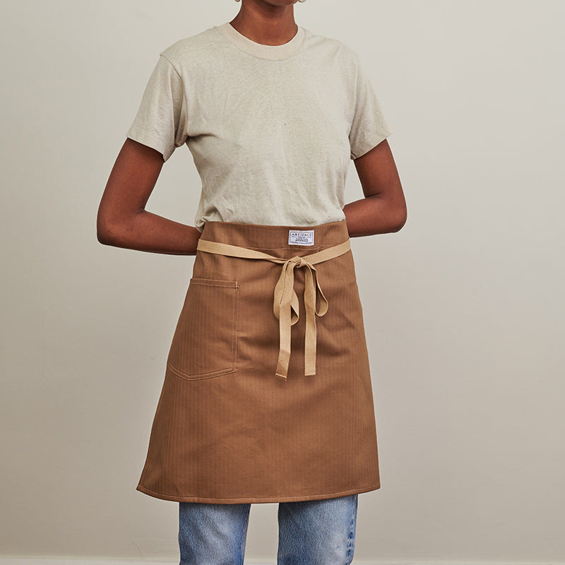 Artifact Black Herringbone Twill Waist Apron