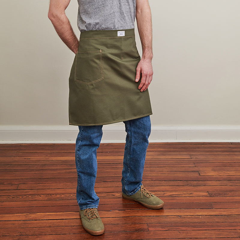 Artifact Natural White Herringbone Twill Waist Apron