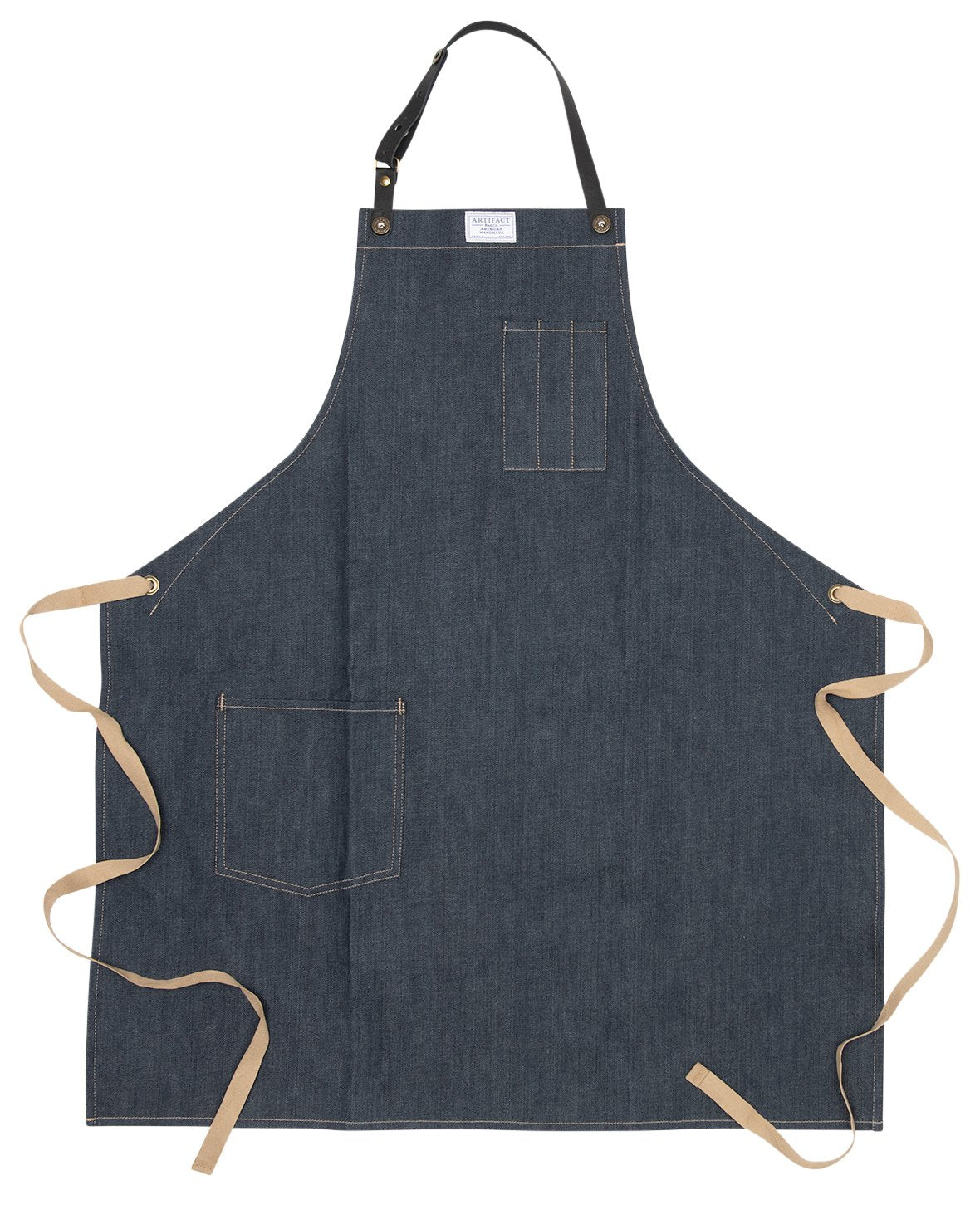 Washed Denim Culinary Apron w/ Removable Leather Strap