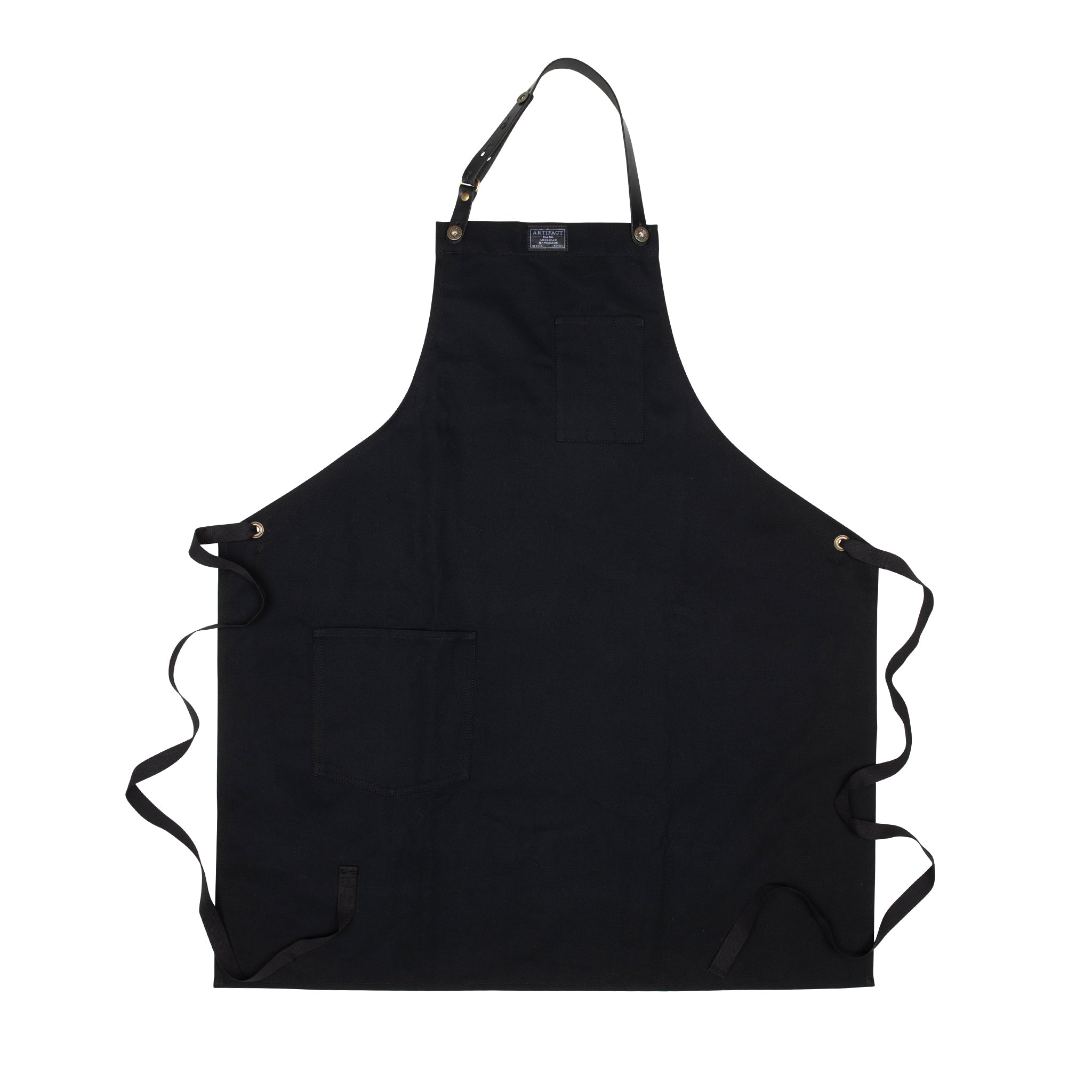 Artifact Black Brushed Twill Apron w/ Leather Leather Strap - Universal Fit