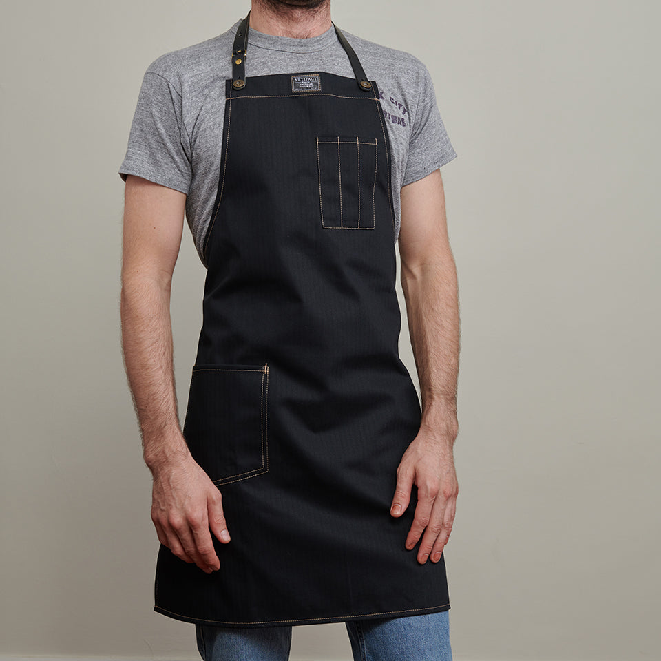 Artifact Black Herringbone Twill Apron w/ Leather Strap - Universal Fit