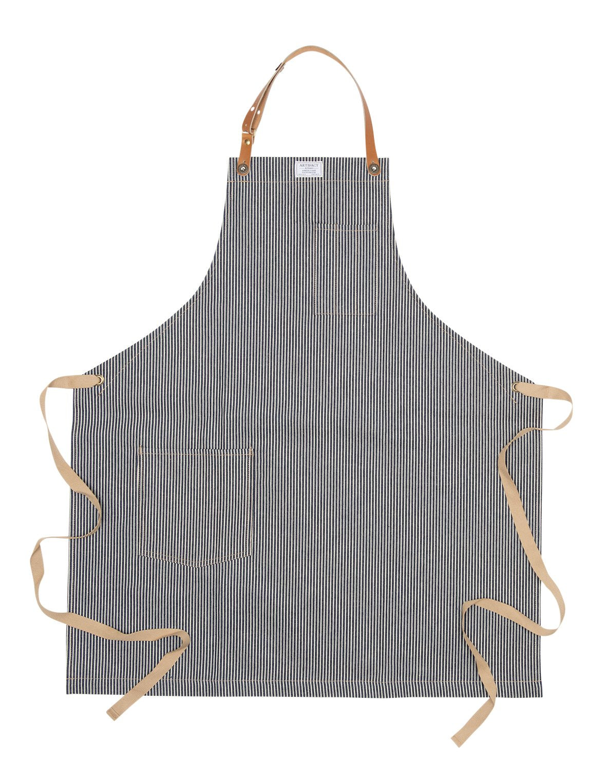 Hickory Striped Denim Culinary Apron w/ Removable Leather Strap