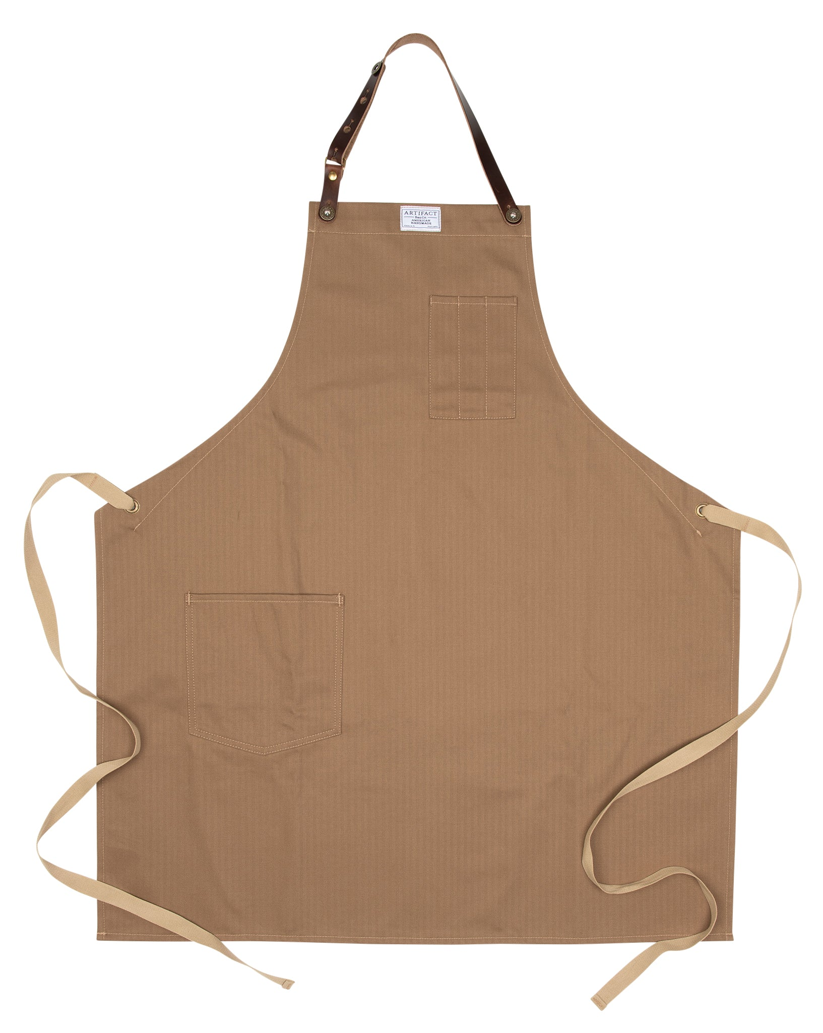 Artifact Khaki Herringbone Twill Apron w/ Leather Strap - Universal Fit