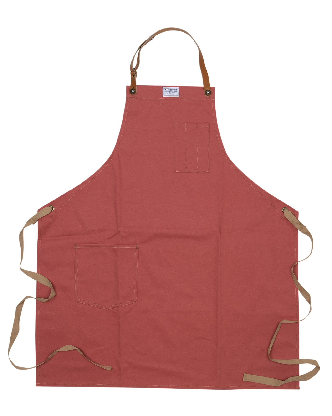 Artifact Nantucket Red Brushed Twill Apron w/ Leather Leather Strap - Universal Fit