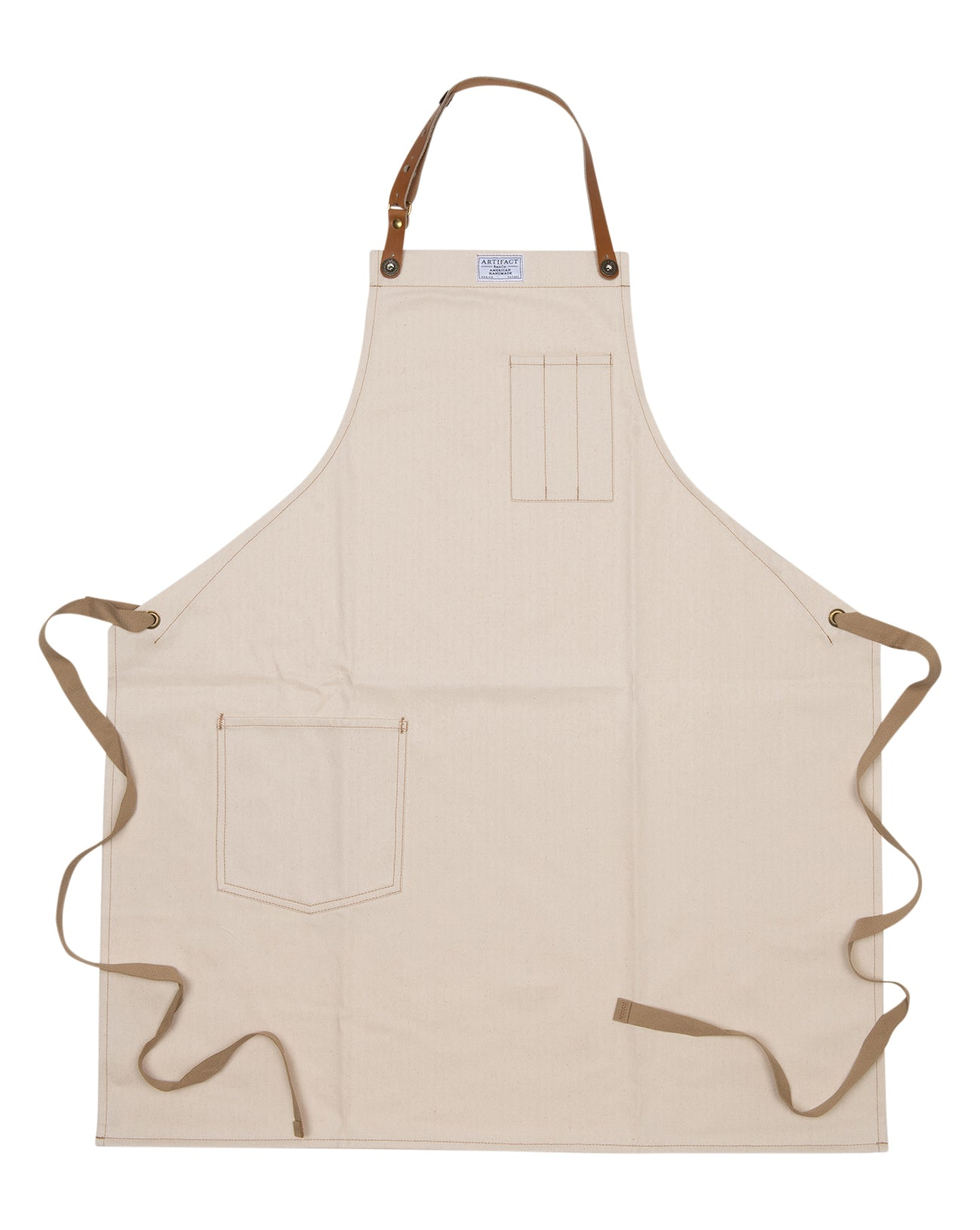 Artifact Natural White Herringbone Twill Apron w/ Leather Strap - Universal Fit