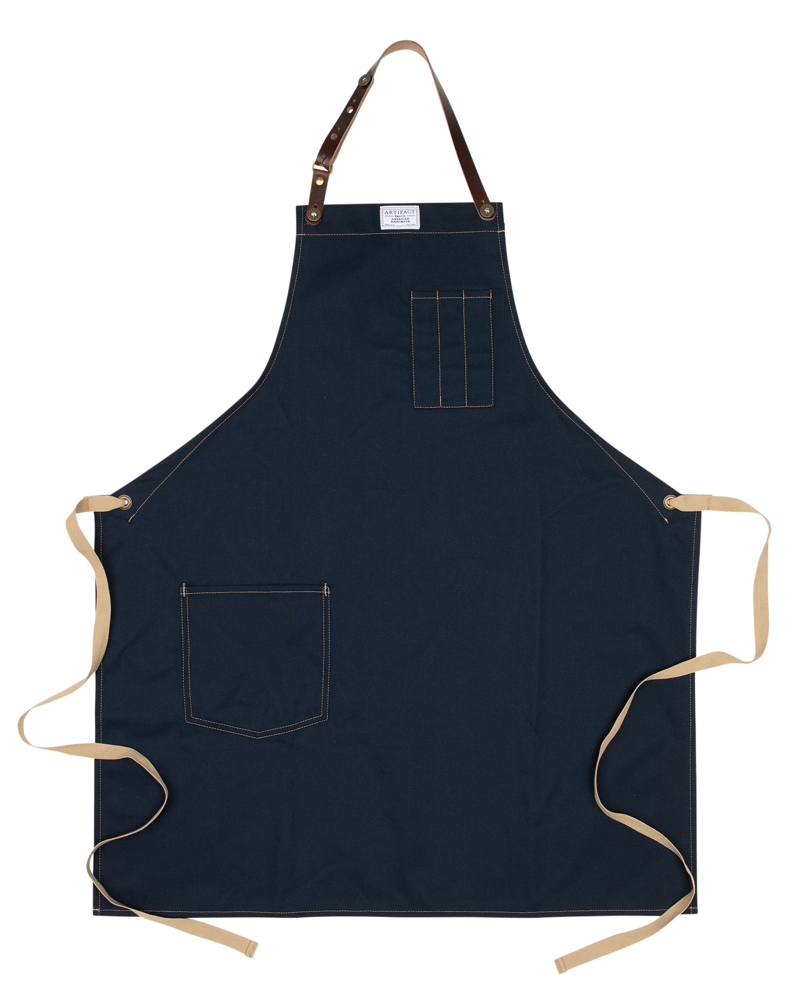 Artifact Navy Blue Brushed Twill Apron w/ Leather Leather Strap - Universal Fit