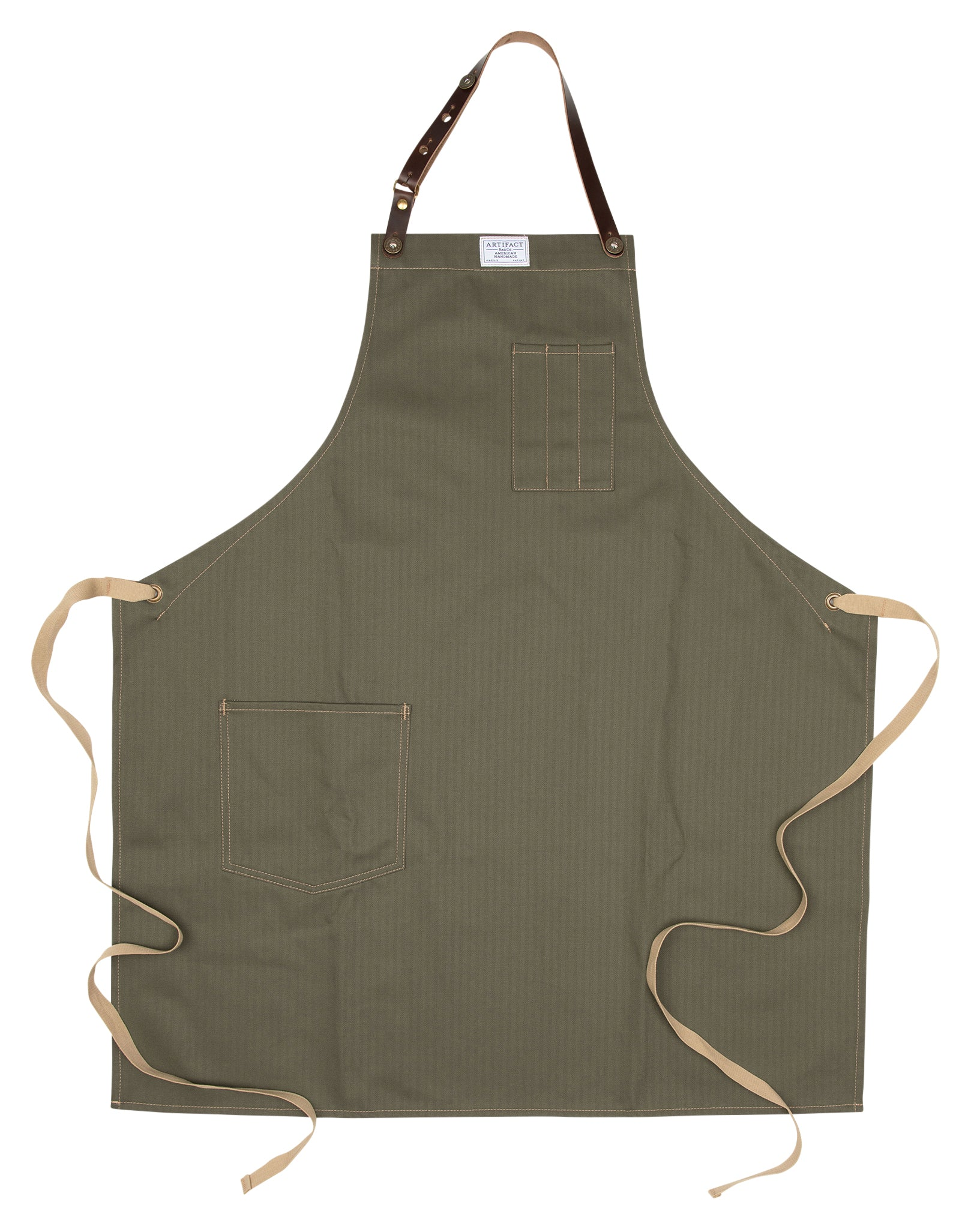 Artifact Olive Green Herringbone Twill Apron w/ Leather Strap - Universal Fit