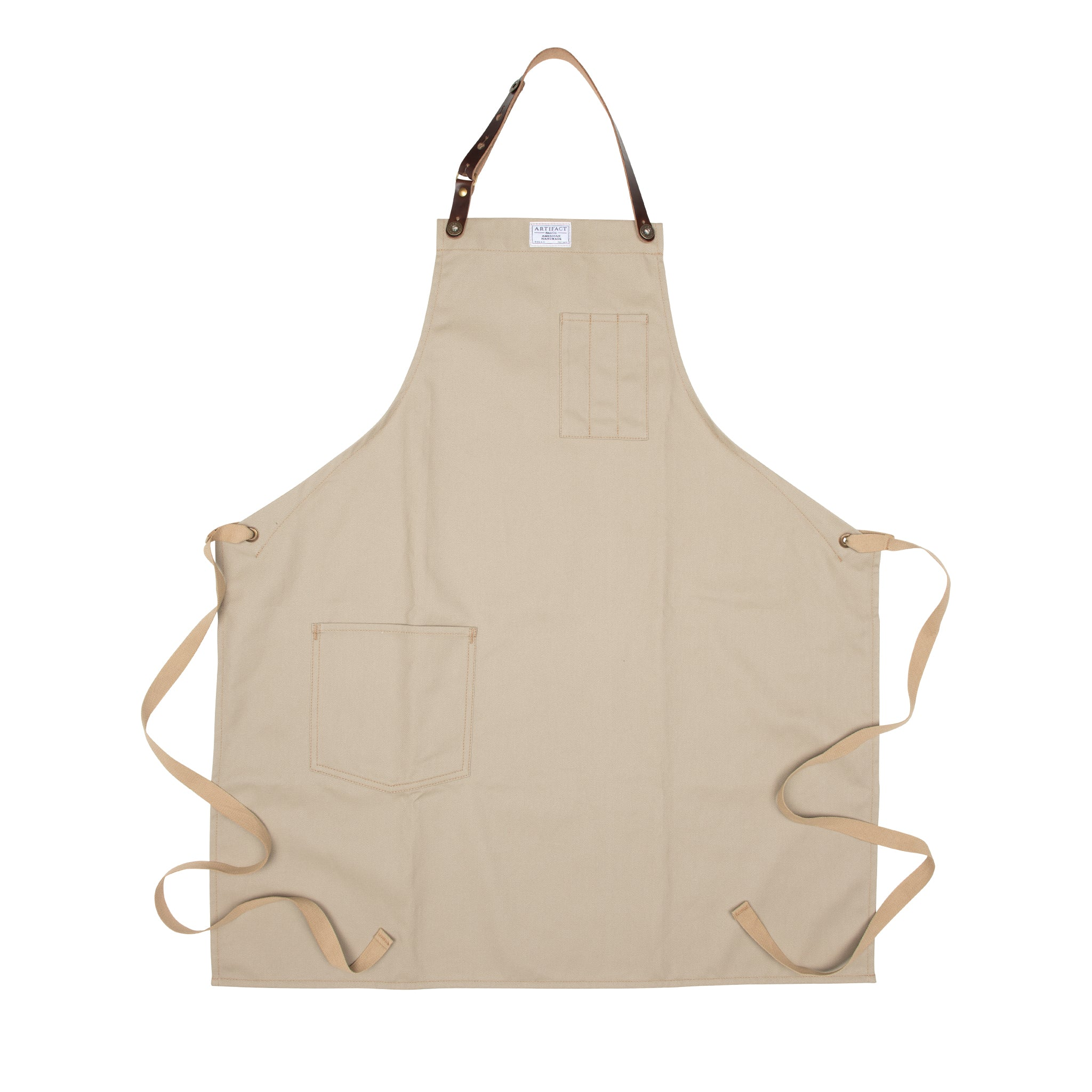 Artifact Beige Sand Brushed Twill Apron w/ Leather Leather Strap - Universal Fit