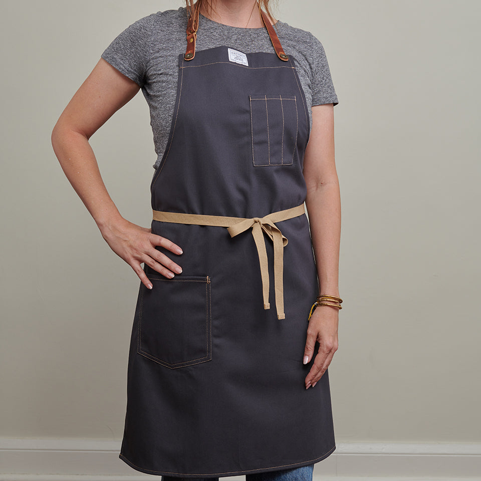 Artifact Slate Grey Brushed Twill Apron w/ Leather Leather Strap - Universal Fit