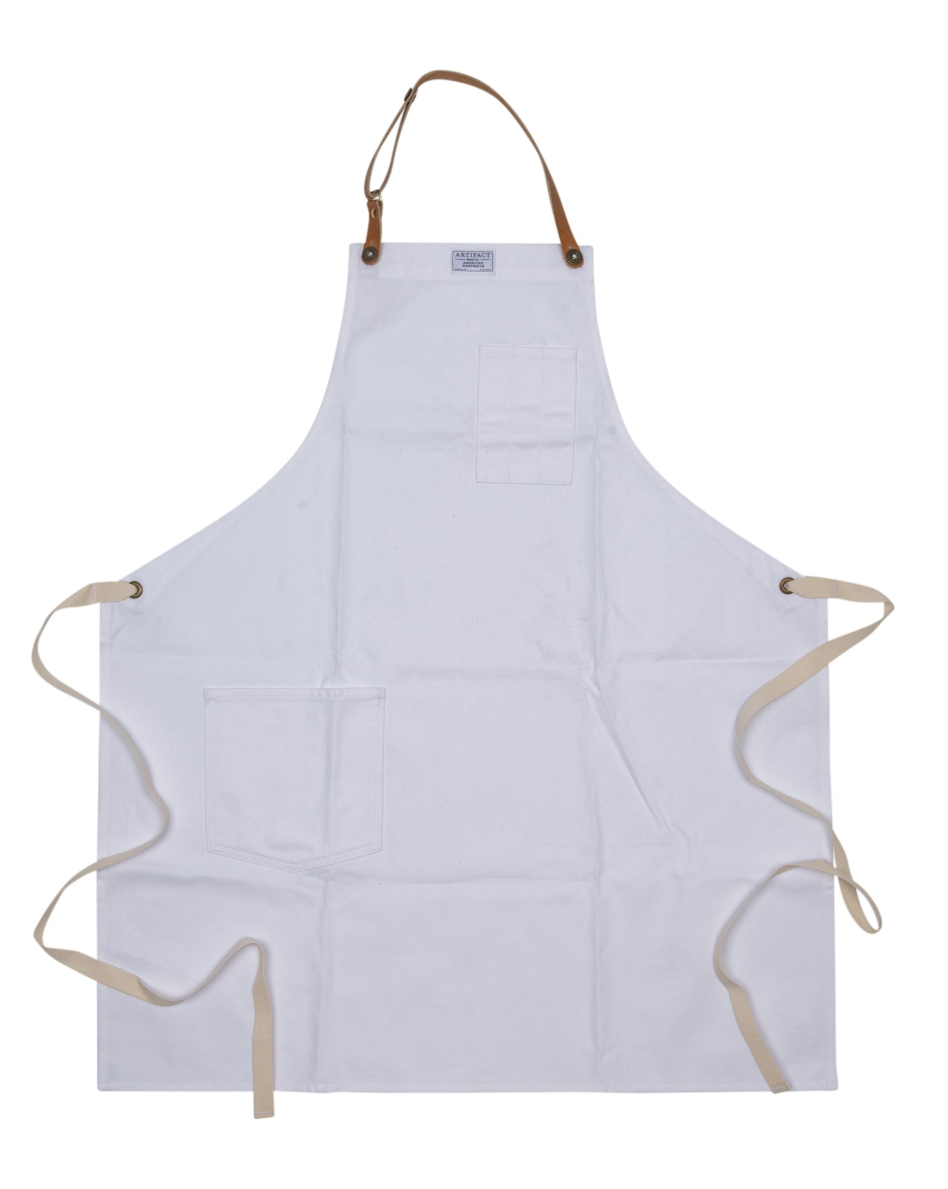 Artifact Pure White Brushed Twill Apron w/ Leather Leather Strap - Universal Fit