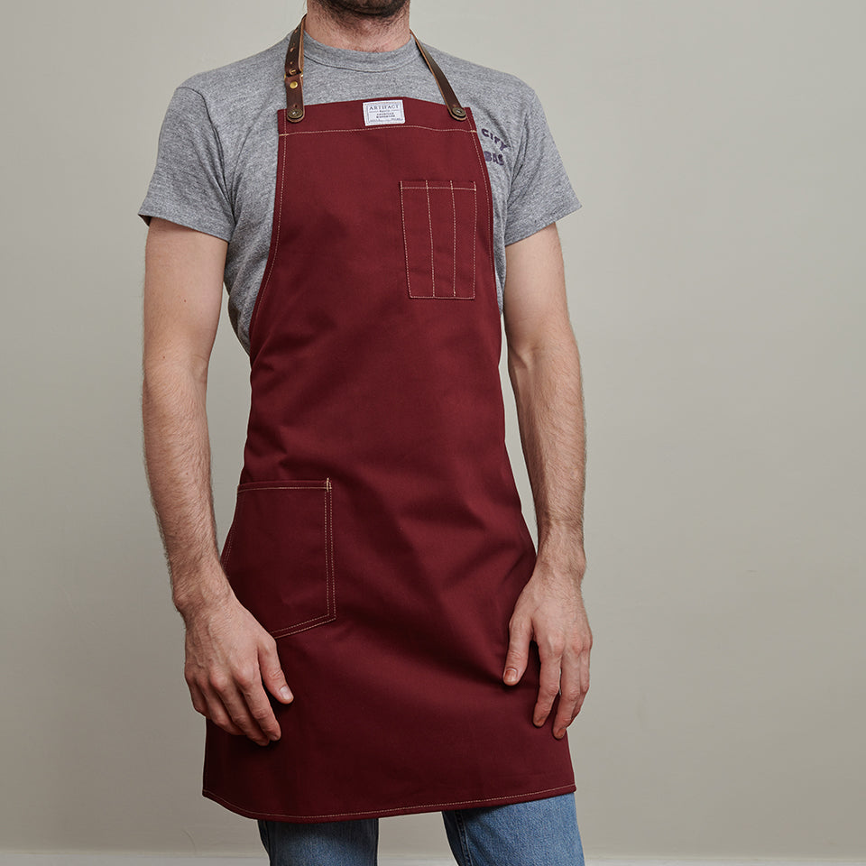 Artifact Wine Brushed Twill Apron w/ Leather Leather Strap - Universal Fit