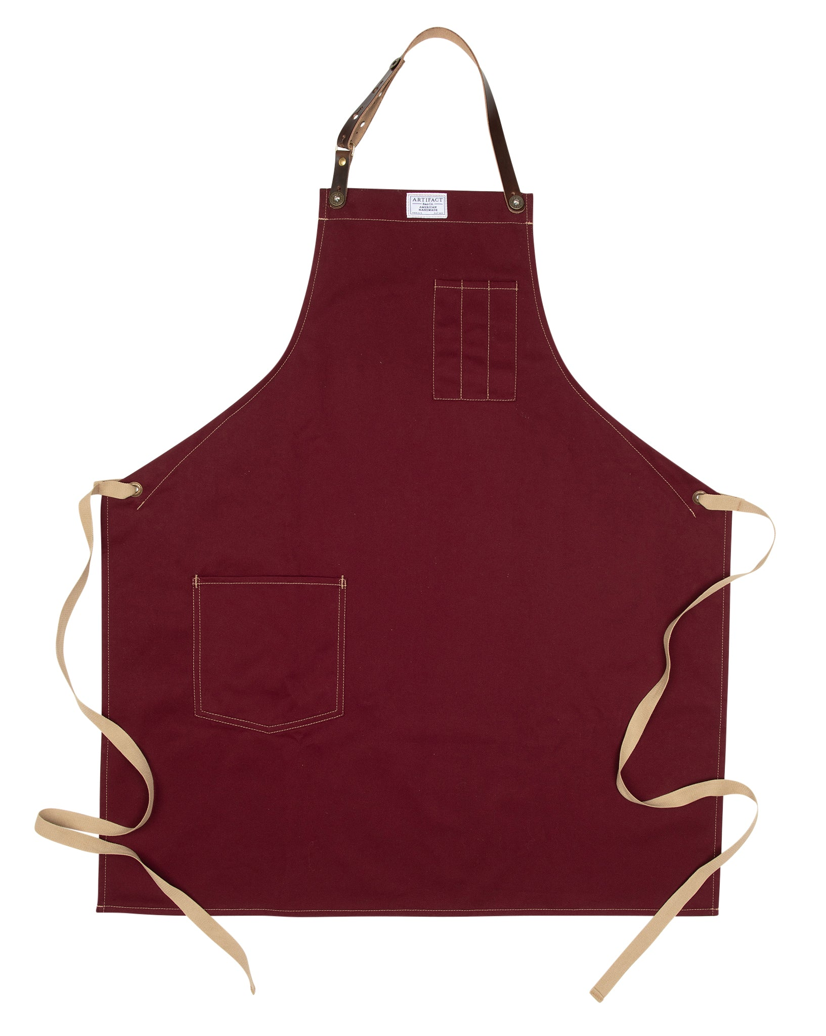 Artifact Wine Red Brushed Twill Apron w/ Leather Leather Strap - Universal Fit