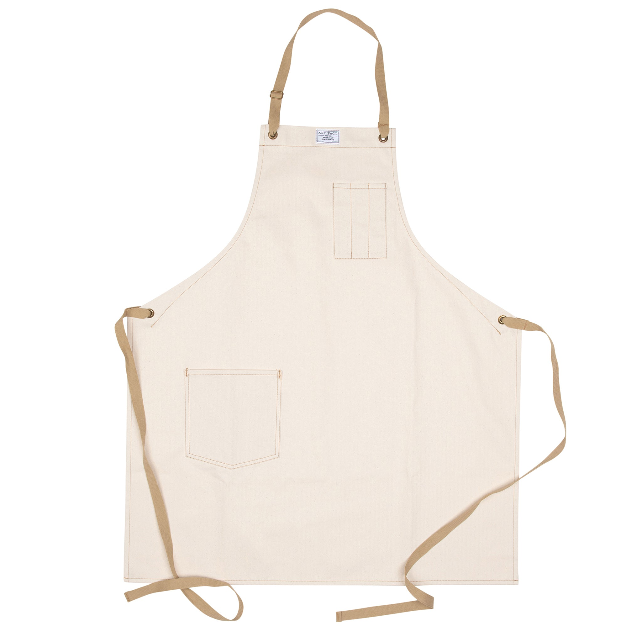 Artifact Natural White Herringbone Twill Apron w/ Cotton Neck Slider