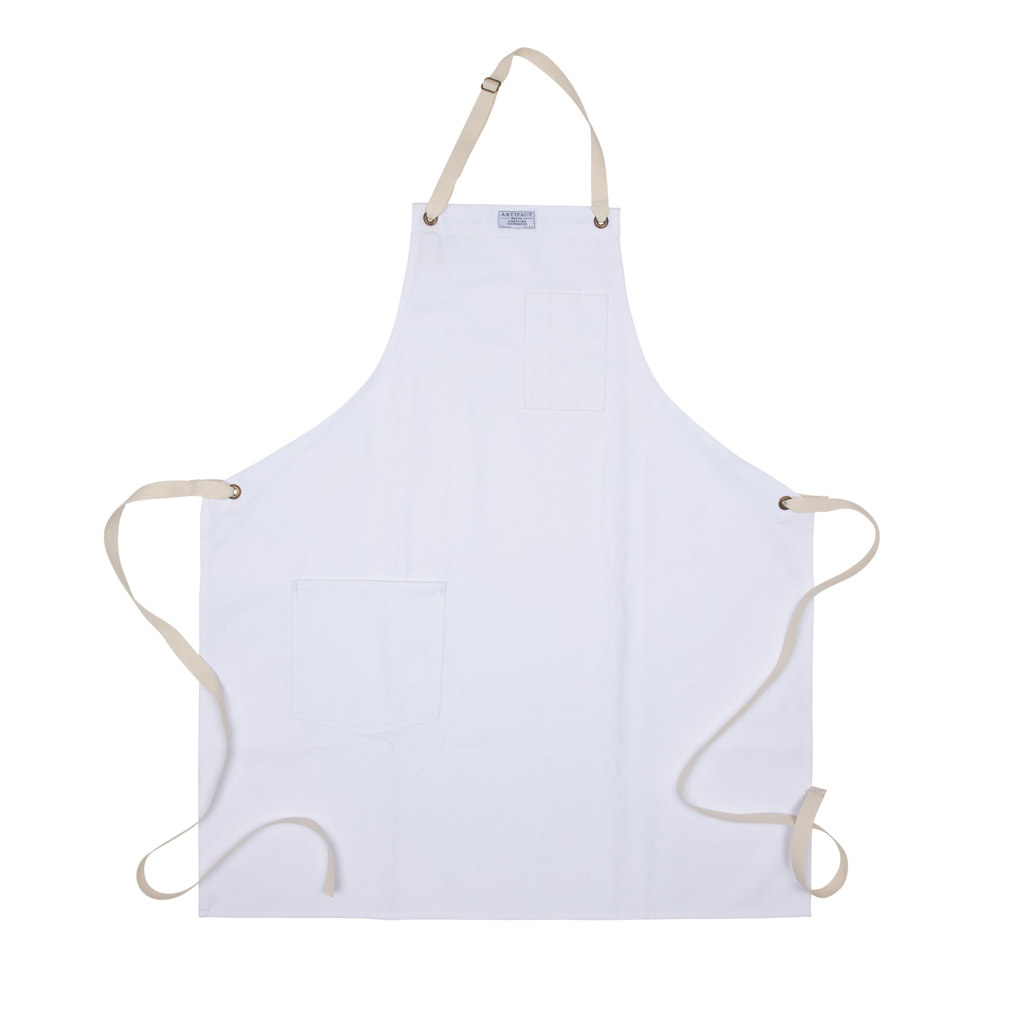 Artifact White Brushed Twill Apron w/ Cotton Neck Slider