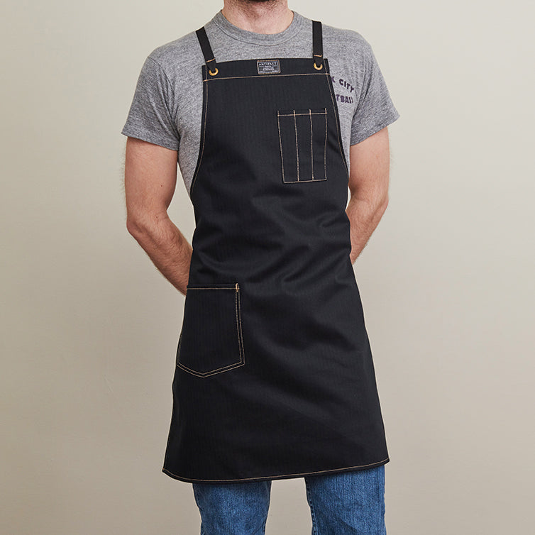 Artifact Natural White Herringbone Twill Apron w/ Cotton Cross-Back Ties