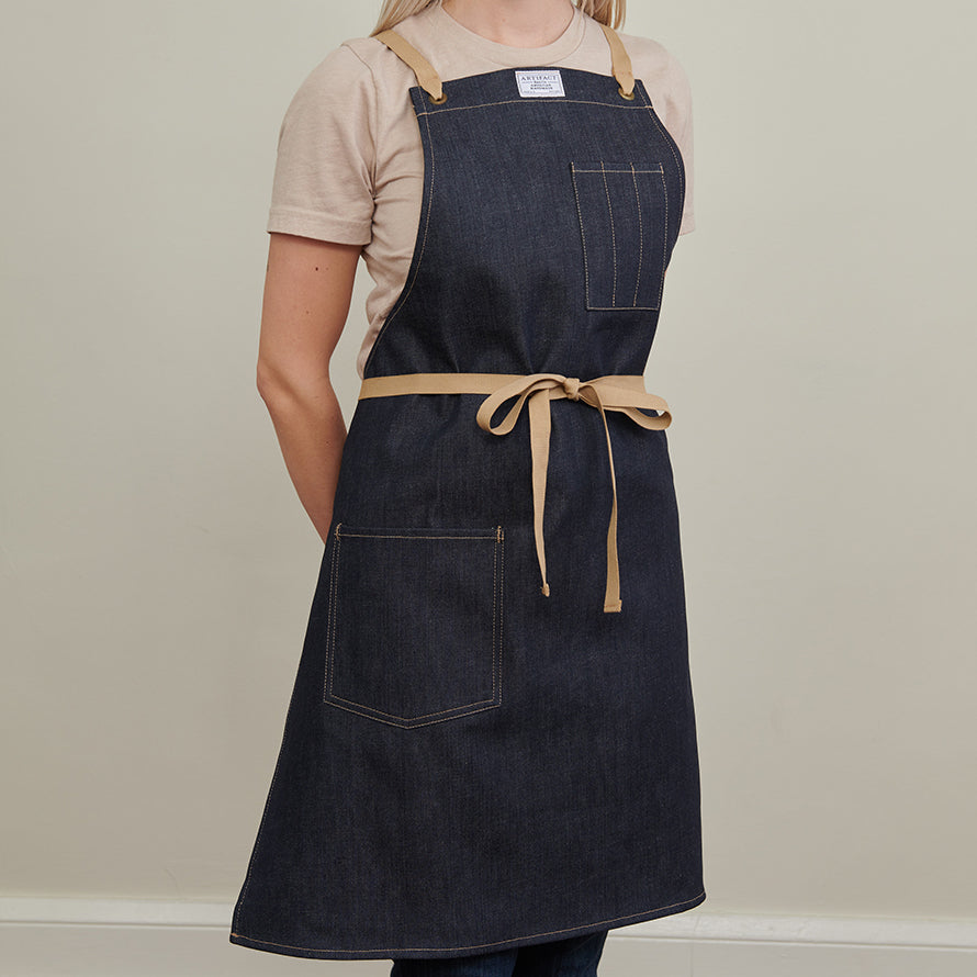 Kurabo Denim Apron w/ Cotton Cross-Back Ties 5
